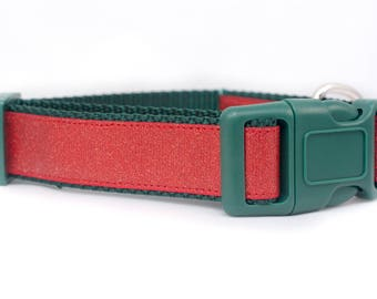 "Glitter Holiday Dog Collar - Bling Dog Collar - 1"" inch wide - christmas dog collar - seasonal dog collar - xmas dog collar - dog gift - red"