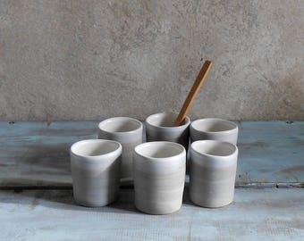 Handmade ceramic hand shot espresso cups