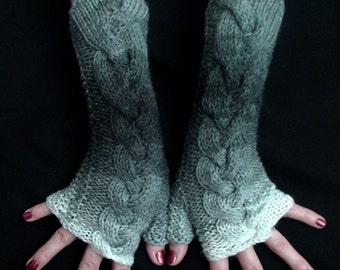 Christmas Gift for Her Fingerless Gloves, Grey Shades Cabled  Acrylic Wrist Arm Warmers