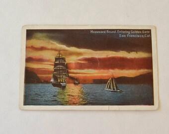 San Francisco Postcard, Vintage Postcard San Francisco Bay, Used