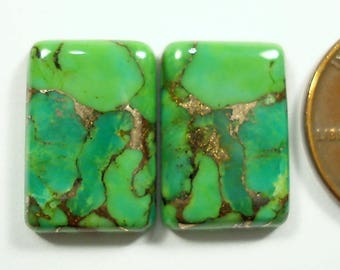 MOJAVE TURQUOISE, 13.52 carats rectangular buff top cabochon PAIR,  earring stones 15.9 x 10.8 mm green gemstones with bronze matrix