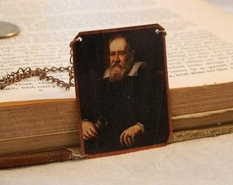 Galileo necklace mixed media jewelry Science jewelry Astronomy Galileo Galilei