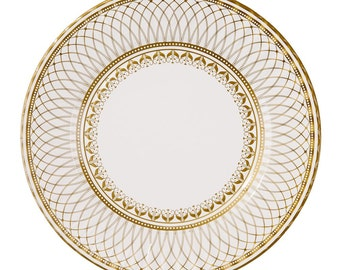 24 big serving gold paper plates - Charm, Christmas or New years eve party