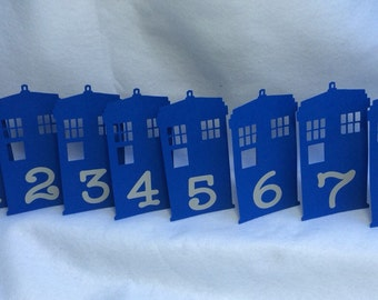 Doctor Who Tardis Table Number Wedding Geek Nerd
