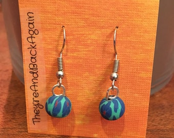 Blue Lilies on Teal Clay Bead Earrings