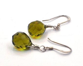 Tear Drop Earrings, Gift for Her, Everyday Jewelry, Sterling Silver Earrings, Crystal Earrings, Briolette Earrings, Minimalist Earrings