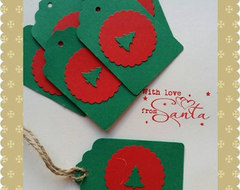 10 x Rustic Christmas gift tags with tree.Red & green. Hand punched.