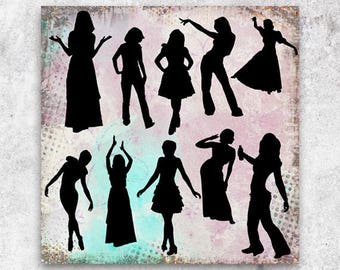 10 photoshop brushes silhouettes women dancers collage scrapbooking instant download diy design France