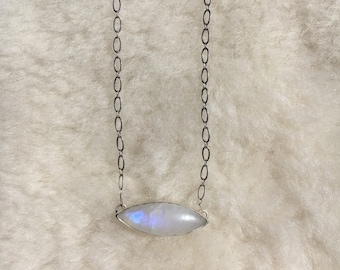 Moonstone sterling silver necklace 16""