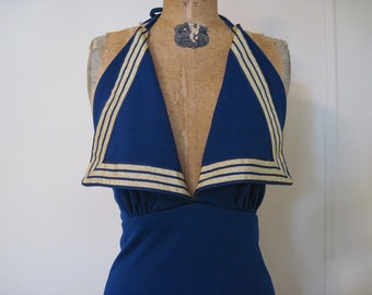 vintage 70s Navy Blue SAILOR Halter Dress s/m