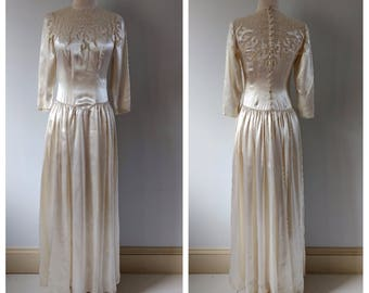 Vintage 1940s wedding dress, lace satin silk charmeuse, vintage bride, xs, small