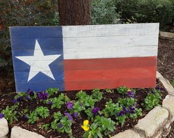 Rustic Upcycled Wood Texas Flag