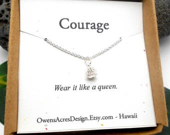 Courage Necklace, Minimalist Necklace, Dainty, Tiny Necklace, Silver Crown Necklace, Courage, Queen, Strength