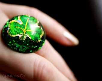 Shamrock Jewelry for St. Patrick's Day Green Sparkly Resin Ring - Giant Bright Green Glitter Modern Electric Green Ring Handmade by isewcute