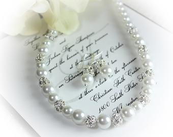 Bridal Gift Bridal Pearl Rhinestone Jewelry Set Pearl Rhinestone Necklace and Earrings Bridal Necklace, Wedding Jewelry, Bridesmaid Gift
