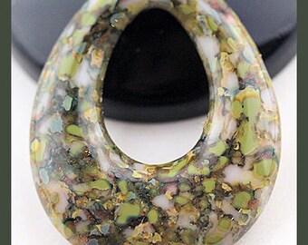 Earthbound...Handmade Fused Glass Teardrop Pendant