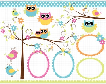 Clipart - Owls in the Forest / Curly Tree Branch - Digital Clip Art (Instant Download)