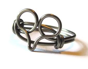 Wire Heart Ring Custom Size Gunmetal Jewelry