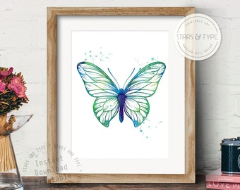 Butterfly Art, PRINTABLE Wall Art, Blue Green Watercolor Effect, Contemporary Home Decor, Instant Digital Download Print, Size 8x10 & 24x24