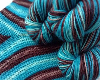 Hand dyed self striping sock yarn - Iced Chocolate