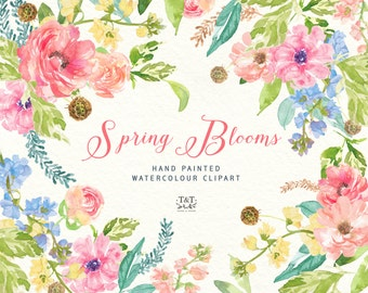Flower Clipart - Hand-painted Watercolor: Spring Blooms, perfect for wedding, invitations, greetings cards, print and more.
