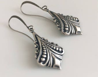 Art Deco Earrings  Antiqued Silver Earrings  Boho Earrings  Silver Dangle Earrings   Gypsy Dangles