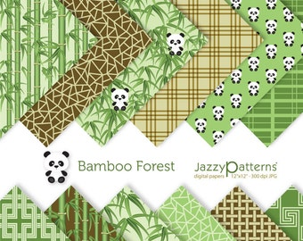 Bamboo Forest digital paper pack for scrapbooking DP077 instant download
