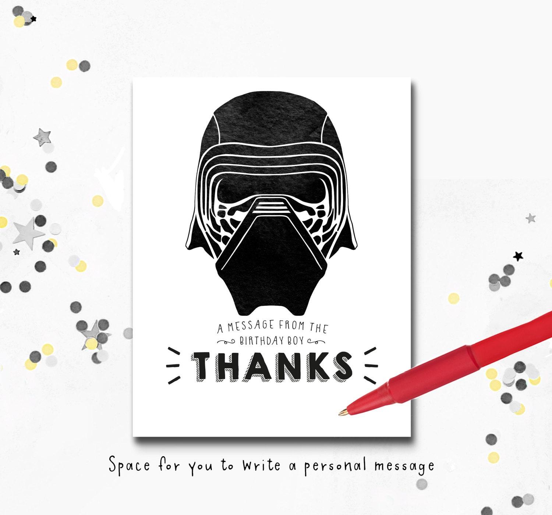 Kylo Ren Kylo Ren Thank you Card Thank you Message Kids