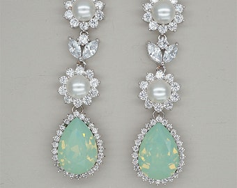 Chandelier Earrings, Mint Green Earrings, Bridal Earrings, Rhinestone Earrings, Bridesmaids Jewelry, Swarovski CHRYSOLITE OPAL Crystal
