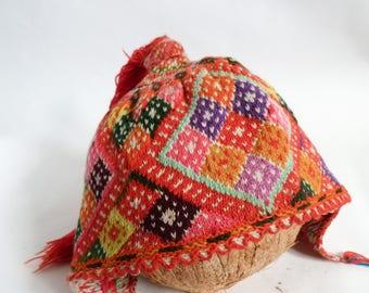 Beautiful eclectic vibrant technicolour handmade Peruvian woolen Chullo ceremonial children's hat (small size)