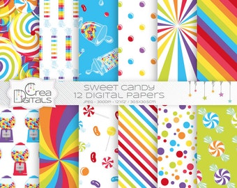 Sweet candy shop - 12 red digital papers - INSTANT DOWNLOAD