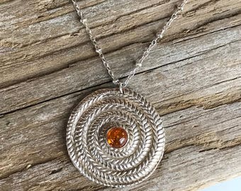Fine Silver Amber Pendant / Amber Sterling Silver Necklace / Genuine Amber Necklace / Baltic Amber Necklace