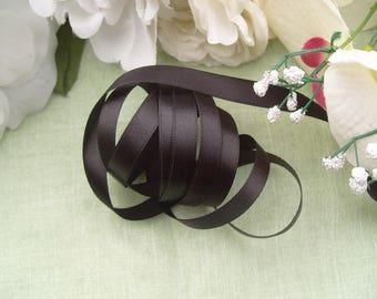 Ribbon satin Black 10 meters polyester satin width 1 cm for Hobbies Crafts sewing scrapbooking