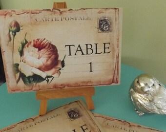 Postcard Wedding placecards, Wedding Table Number Cards, Vintage Postcard with Roses, Postcard table numbers, vintage postcards