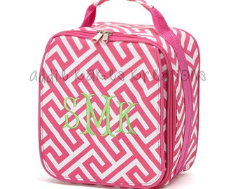 Personalized Girls Lunchbox - Pink and White - Greek Key - Girls Lunchbag - Monogrammed Lunchbox - Back to School - Monogrammed Lunchbag