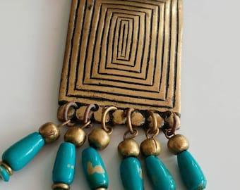 Vintage faux turquoise tribal necklace