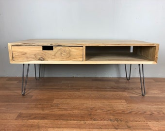 Coffee Table Mid Century Modern Style with hairpin legs, shelf and drawer