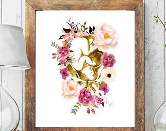 Pregnancy Art Print, Gynecologist Gift, Midwife Gift, Medical Art, Digital Art, Doctor Gift Pregnancy Gift  Midwife Print, Anatomy Art Print