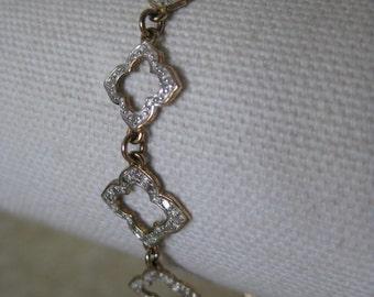Gold Silver Sterling Link Bracelet Vintage 925