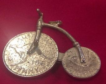 1960s penny farthing brooch