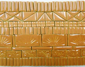 160 Mosaic Tiles Handmade Ceramic Art Tiles Stoneware Crafting Tiles Terra Cotta Shades Glazed Craft Tile Assortment #4