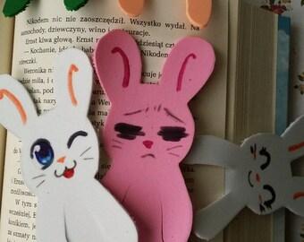 plush foam bookmarks bunny colourful funny faces manga kawaii