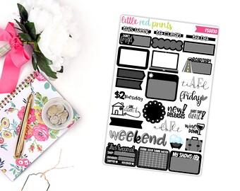 Black Functional Sampler Number 2, Planner Stickers for the Erin Condren Life Planner, Sampler Sheet - [FS0030]