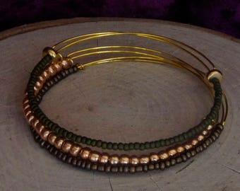 Expandable Bangle Bracelet Stack of Three – copper and green