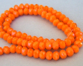 40 TINY 4mm carrot orange beads, small orange Chinese crystal rondelles