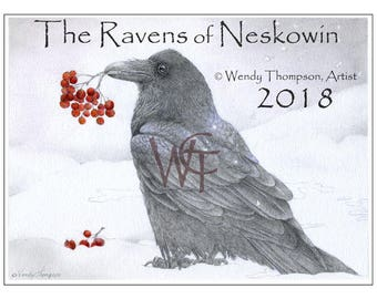 2018 CALENDAR - The Ravens of Neskowin - Original art, sun moon, solar eclipse, Ray-Vaughan, kingfisher, colored pencil, gaphite.