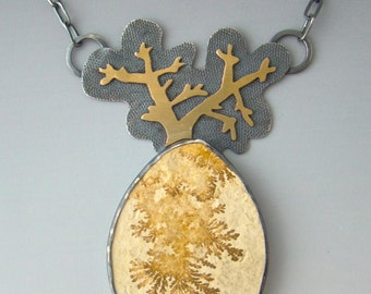 Dendrite Limestone Sterling Silver 22 Karat Gold Growth Pendant Necklace Tree Fractal Branch