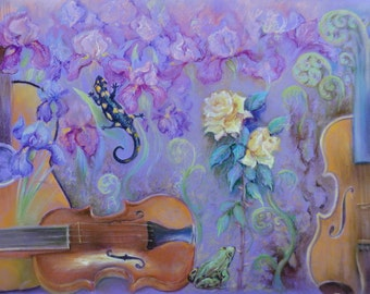PASTEL DRAWING FANTASY Illustration Original pastel drawing Still life Flowers Animals Musical instruments Large painting Ultra Violet decor