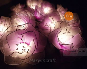 Limited White Purple String Lights Rose Flower Fairy Lights Bedroom Home Decor Living Room Wall Hanging Lights Wedding Decor Battery & Plug