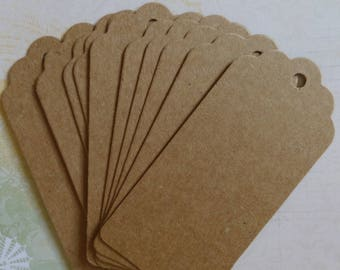 Set of 20 large tags in kraft paper